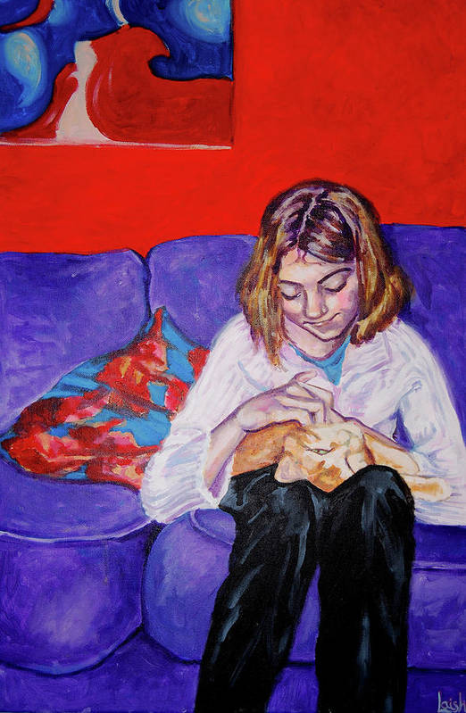 Girl Art Print featuring the painting Life Was Simpler With A Cat by Helen Laishley