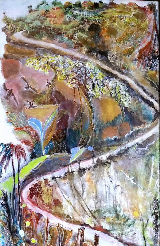 Hills Art Print featuring the painting Living Nearer To God by Subrata Bose