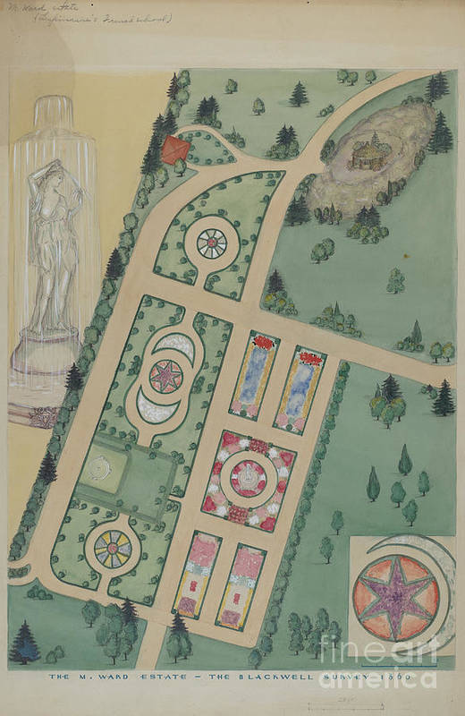 Art Print featuring the drawing M. Ward Estate by Virginia Richards