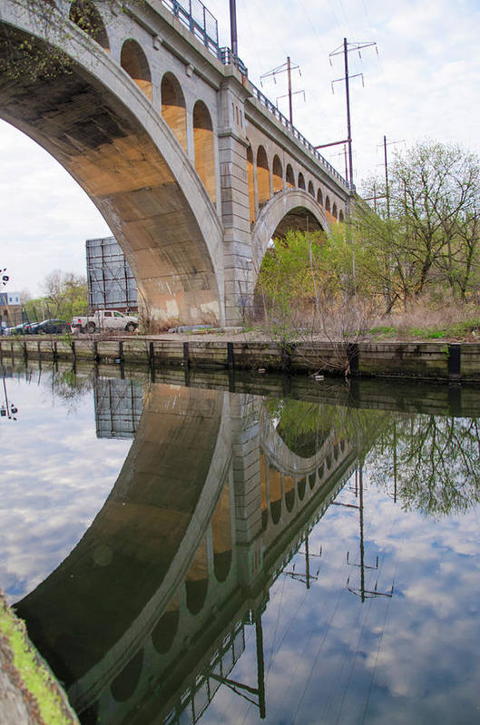 Manayunk Art Print featuring the photograph Manayunk Canal Bridge Reflection by Bill Cannon