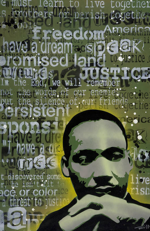 Pop Art Print featuring the painting Martin Luther King by Tai Taeoalii