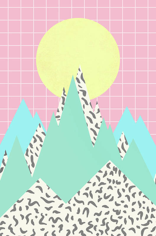 Pattern Art Print featuring the digital art Memphis Mountains by Ultra Pop