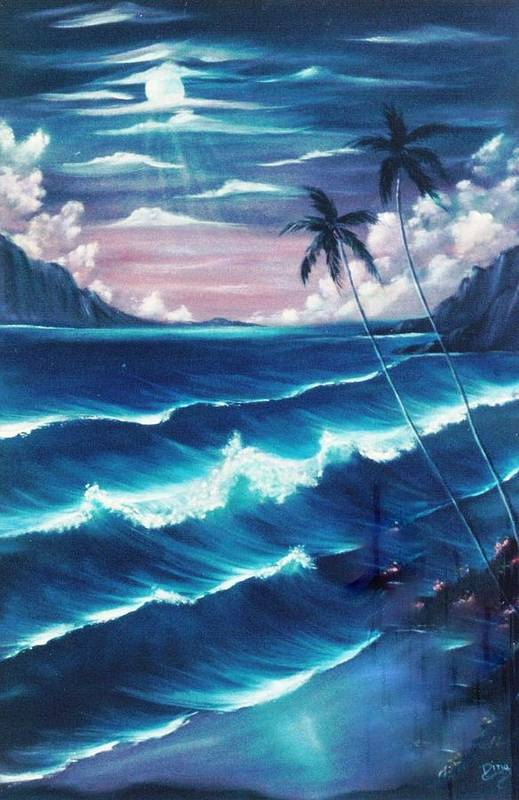 Seascape Art Print featuring the painting Moana Lani by Dina Holland