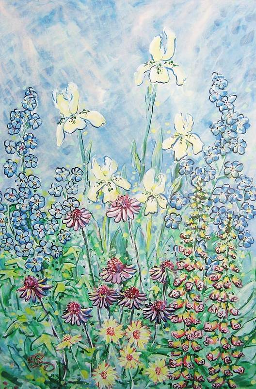 Floral Art Print featuring the painting Moms Garden by Robert Findley