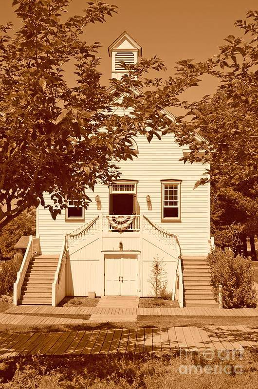 Sepia Art Print featuring the photograph Mormon Pine Valley Meeting House by Dennis Hammer