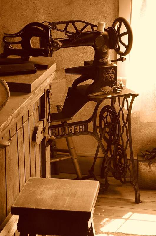 Sepia Art Print featuring the photograph Mormon Singer Sewing Machine by Dennis Hammer