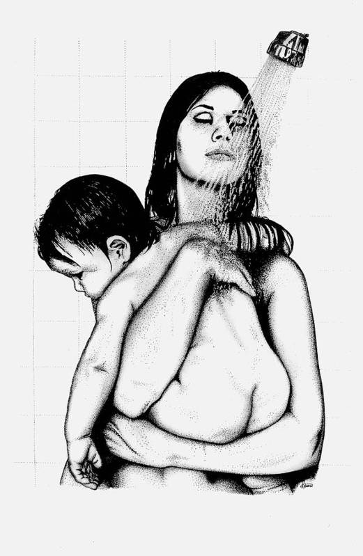 Mother And Child Art Print featuring the drawing Mother And Child by Larry Lehman
