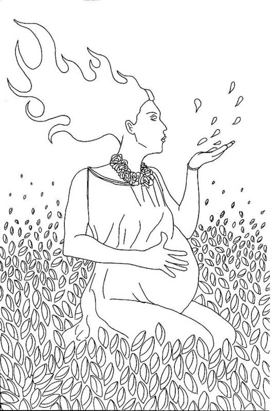Line Drawing Art Print featuring the drawing Mother Nature by Kate Evans