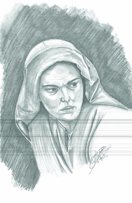Portrait Art Print featuring the drawing Mother Of Christ by Jason McRoberts