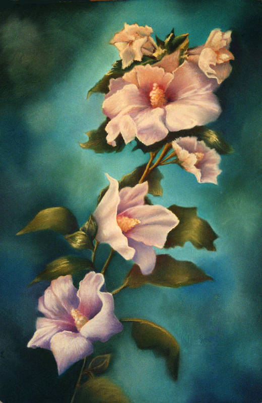 Rose Pink Althea Pastel Painting Floral Flower Art Print featuring the painting Mothers Rose Of Sharon by Marti Bailey