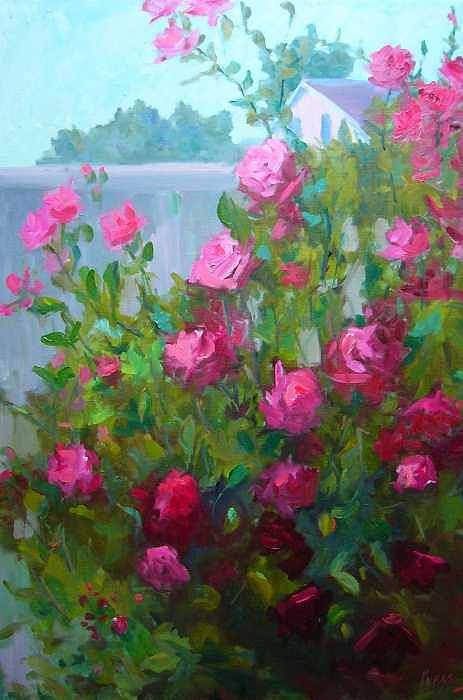 Climing Red Roses On Fence Art Print featuring the painting Myback Yard Roses by Patricia Kness