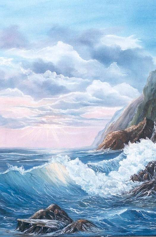 Seascape Art Print featuring the painting Napoli Coast One by Marveta Foutch