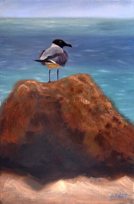 Oil Art Print featuring the painting Ocean View by Greg Neal