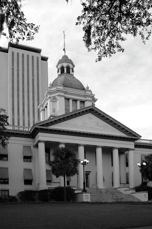 Black And White Photography Art Print featuring the photograph Old And New Florida State Capitol Buildings by Wayne Denmark