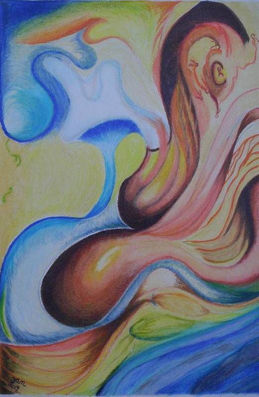 Abstract Art Print featuring the painting On The Island by Suzanne Udell Levinger