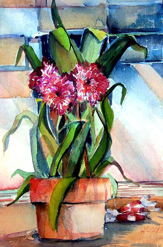 Watercolor Art Print featuring the painting Peppermint Carnations by Mindy Newman