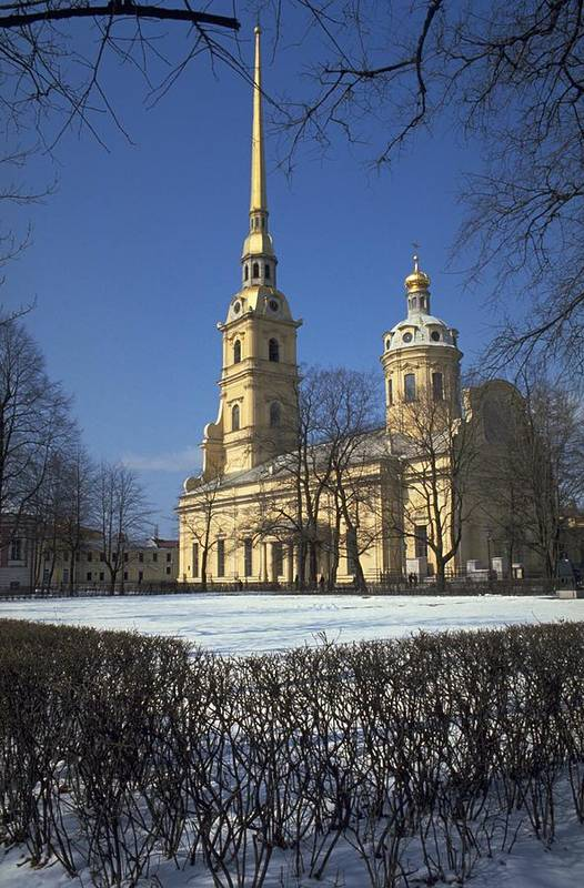 Peter And Paul Cathedral St Petersburg Commissioned By The Great Of Saint Is Located Inside Fortress In Russia Built On Zayachy Island Between Bell Tower World Tallest Orthodox Also Act As A Lightning Rod Most Russian Emperor Empresses From To Nicholas Ii Including Catherine Empress For Historic Centre Related Group Monument Heritage Site Unesco Photo Michel Guntern Travelnotes Travel Er Pics Travelpics Snow Winter Scene Blue Sky Cloudless Architecture Landmark Church Vertical Orientation Europe Art Print featuring the photograph Peter And Paul Cathedral by Travel Pics