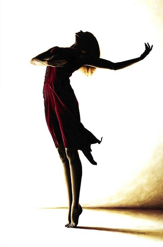 Ballet Art Print featuring the painting Poise In Silhouette by Richard Young