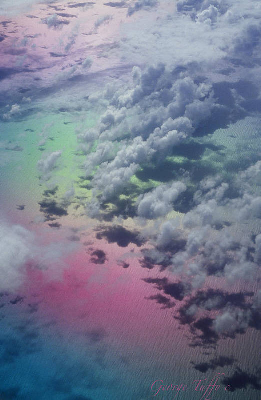 Caribbean Polarized Clouds Ocean Flight Airplanewindow Art Print featuring the photograph Polarized Caribbean by George Tuffy
