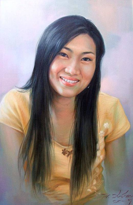 Woman Art Print featuring the painting Ponchan by Chonkhet Phanwichien