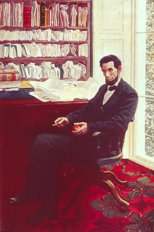 Portrait Of Abraham Lincoln (colour Litho) By Howard Pyle (1853-1911) Print featuring the painting Portrait Of Abraham Lincoln by Howard Pyle