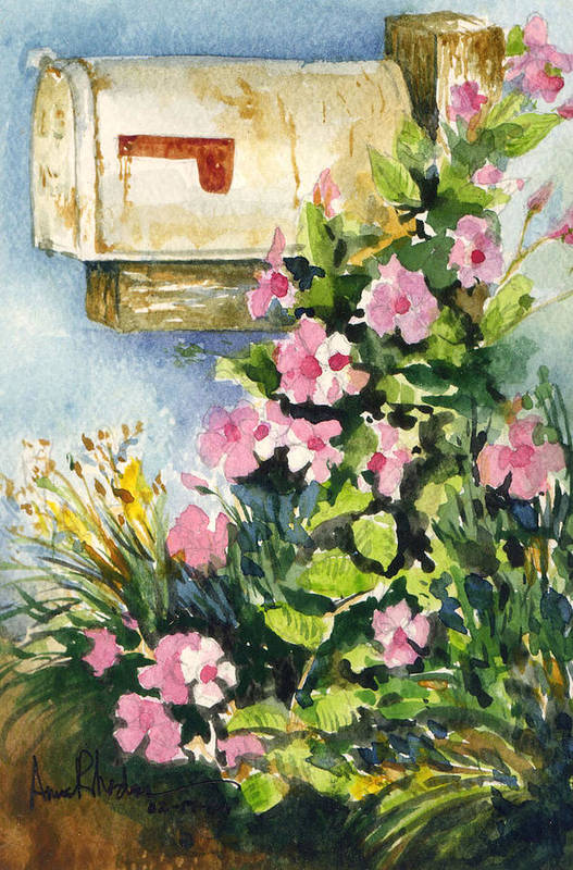 Mailbox Art Print featuring the painting Postman's Delight by Anne Rhodes