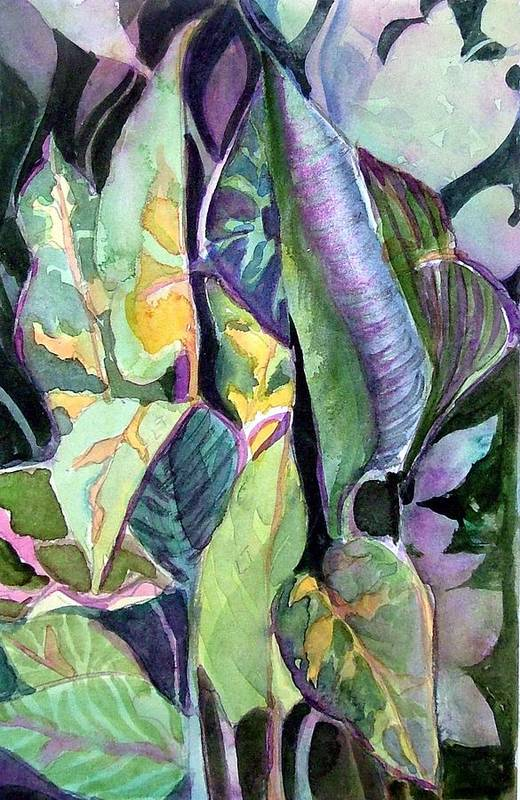 Watercolor Art Print featuring the painting Pray Plant by Mindy Newman