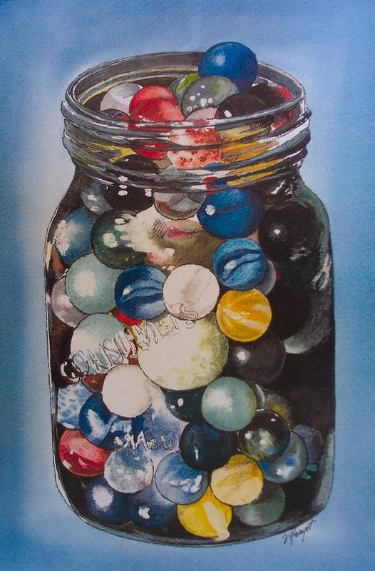 Marbles Art Print featuring the painting Prized Collection by Victoria Heryet