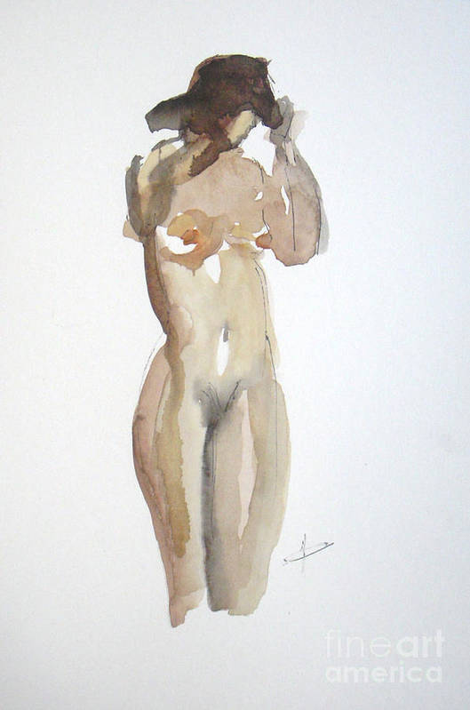 Nude Art Print featuring the painting Protect Yourself by Vesna Antic