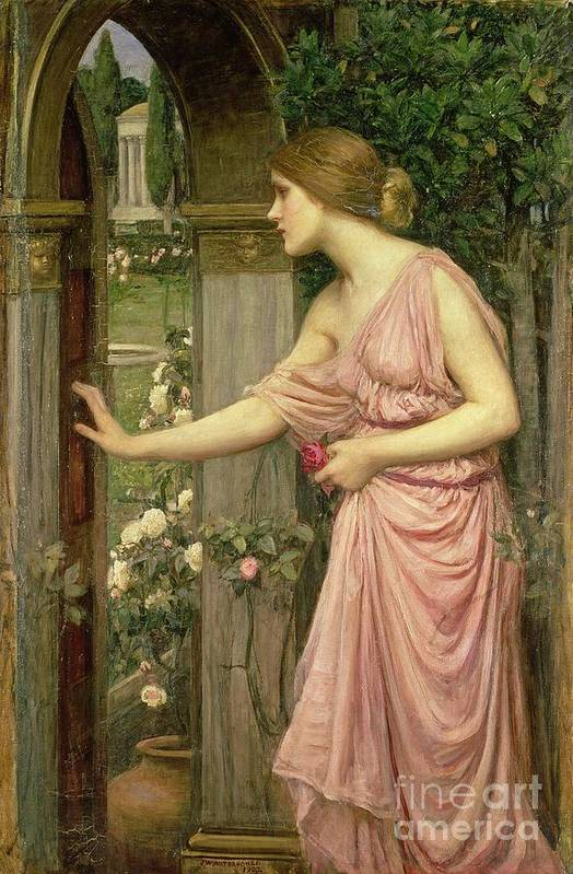 John William Waterhouse Art Print featuring the painting Psyche Entering Cupid's Garden by John William Waterhouse