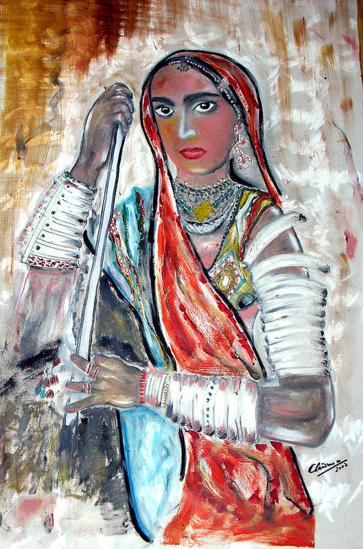 Woman Art Print featuring the painting Rajasthani Woman by Narayanan Ramachandran