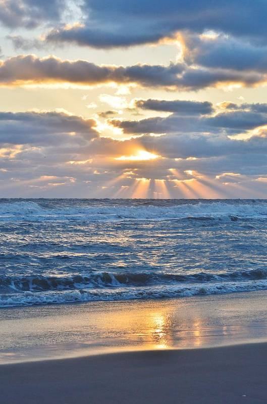 Obx Sunrise Art Print featuring the photograph Rays Of Light by Barbara Ann Bell
