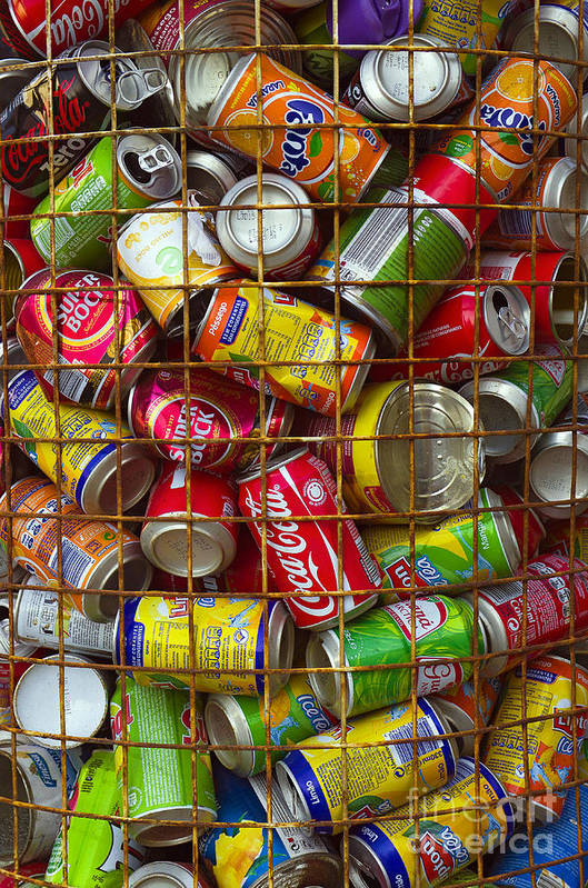 Abstract Print featuring the photograph Recycling Cans by Carlos Caetano