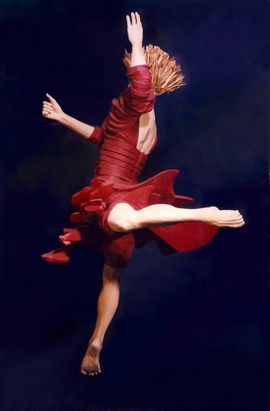 Dance Art Print featuring the sculpture Red Dancer Back View by Gordon Becker