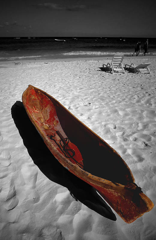 Photography Art Print featuring the photograph Red Paddle Boat Playa Del Carmen by Tom Fant
