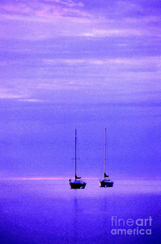 Sailboats Art Print featuring the photograph Sailboats In Blue by Timothy Johnson