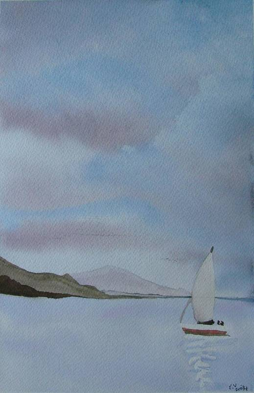 Sailboat Art Print featuring the painting Sailing by Liz Vernand