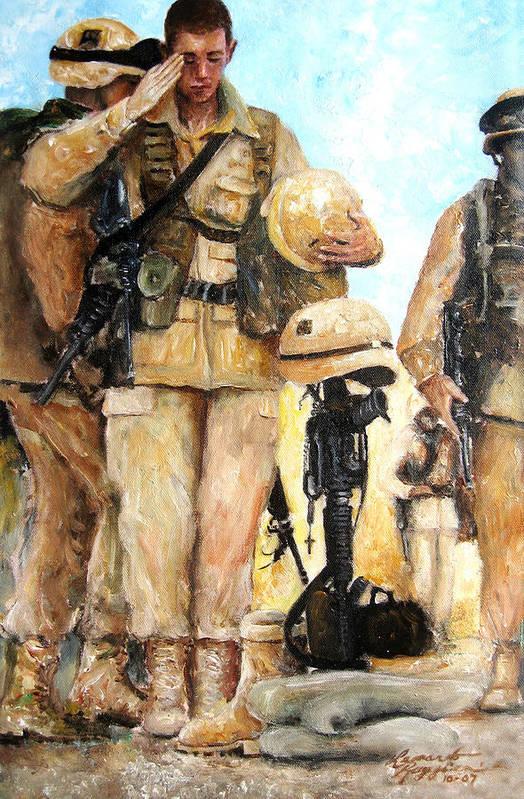People Art Print featuring the painting Saluting The Fallen by Leonardo Ruggieri
