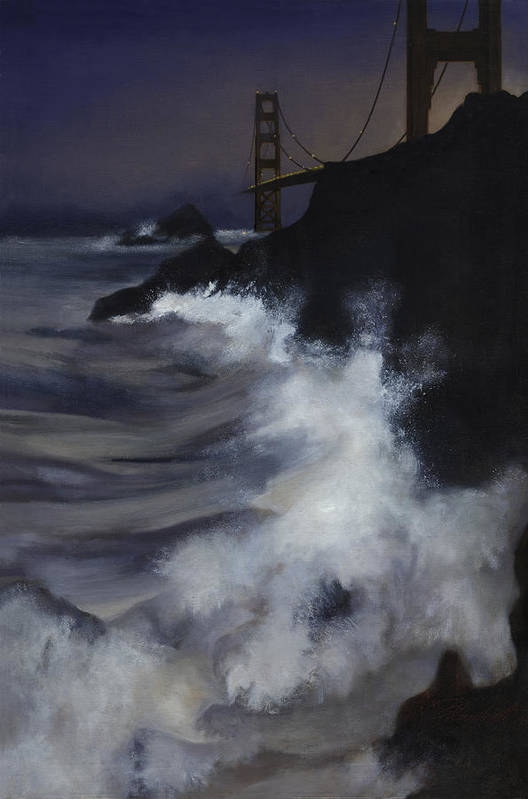 Seascape Art Print featuring the painting San Francisco Nocturne by Philippe Plouchart