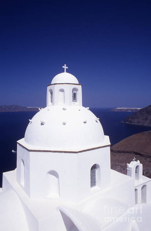 Cyclades Art Print featuring the photograph Santorini Church by Steve Outram