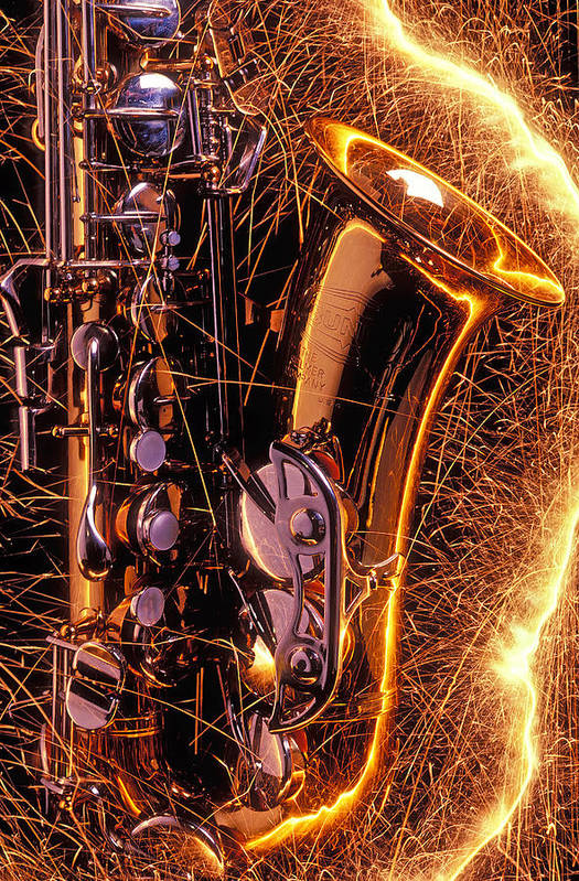 Saxophone Art Print featuring the photograph Sax With Sparks by Garry Gay