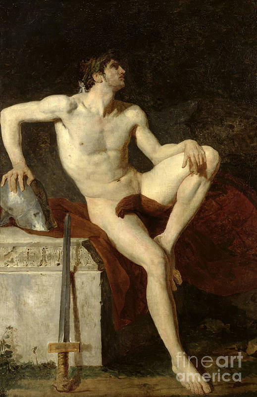Seated Art Print featuring the painting Seated Gladiator by Jean Germain Drouais