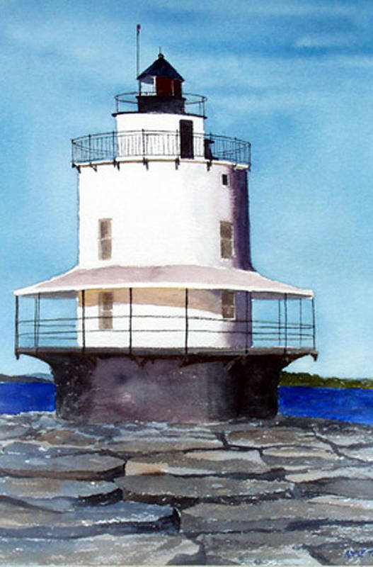 Landscape Art Print featuring the print Spring Point Ledge Light by Anne Trotter Hodge
