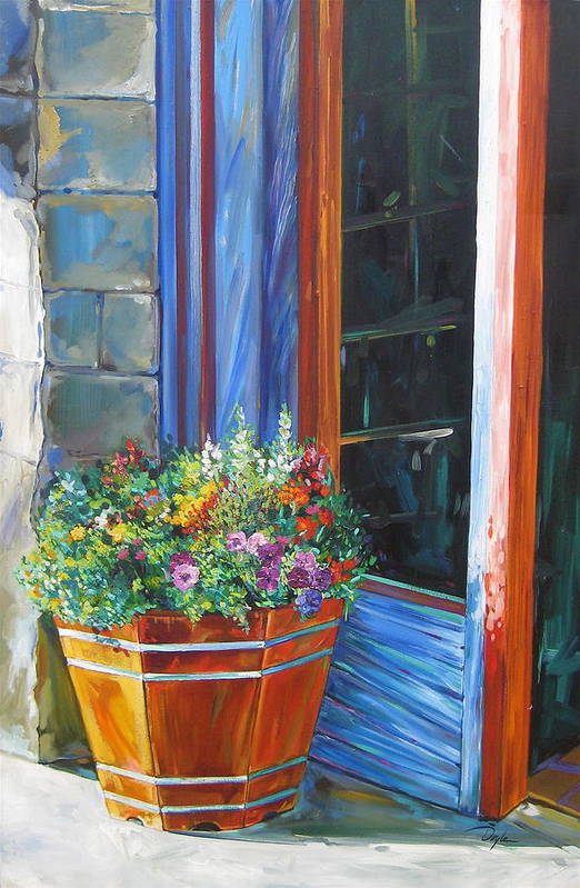 Pansy Art Print featuring the painting Stopping At An Entryway by Karen Doyle