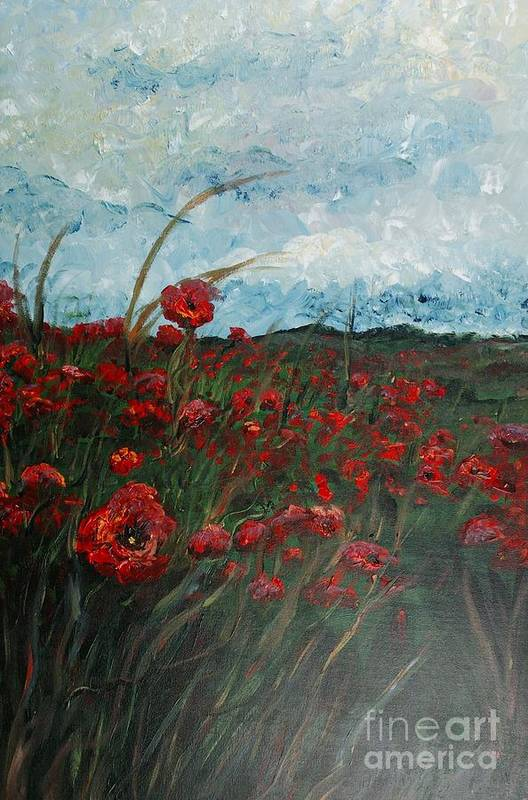 Poppies Art Print featuring the painting Stormy Poppies by Nadine Rippelmeyer