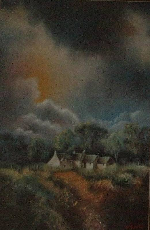 Landscape Art Print featuring the painting Stormy Weather by Nellie Visser