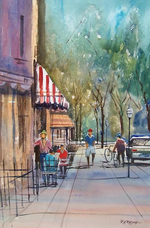 Street Scene Art Print featuring the painting Summer In Cedarburg by Ryan Radke