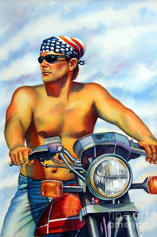 Portrait Art Print featuring the painting Sunday Ride by Gail Zavala