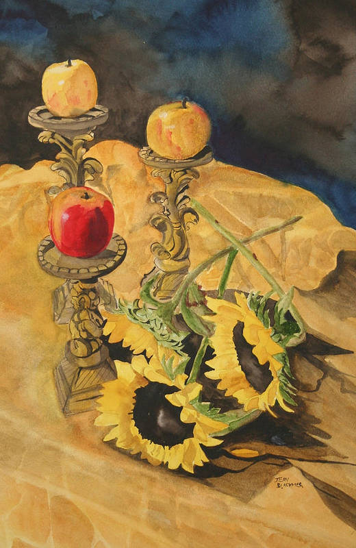 Still Life Art Print featuring the painting Sunflowers And Apples by Jean Blackmer