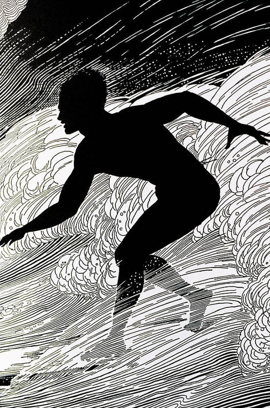 1930 Art Print featuring the painting Surfer by Hawaiian Legacy Archive - Printscapes